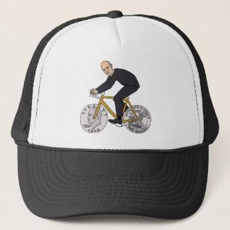Dwight Eisenhower On Bike With Dollar Coin Wheels Trucker Hat