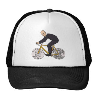Dwight Eisenhower On Bike With Dollar Coin Wheels Trucker Hat