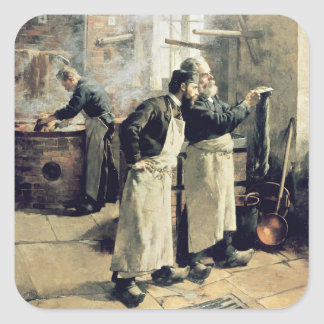 Dyeing workshop in the Gobelins, 19th century Square Sticker
