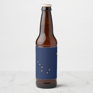 Dynamic Alaska State Flag Graphic on a Beer Bottle Label