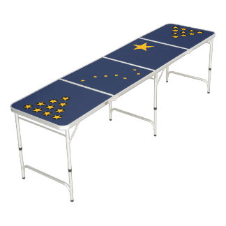 Dynamic Alaska State Flag Graphic on a Beer Pong Table