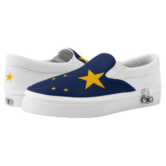 Dynamic Alaska State Flag Graphic on a Slip-On Sneakers