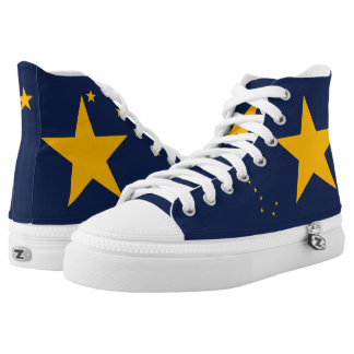 Dynamic Alaskao State Flag Graphic on a High Tops