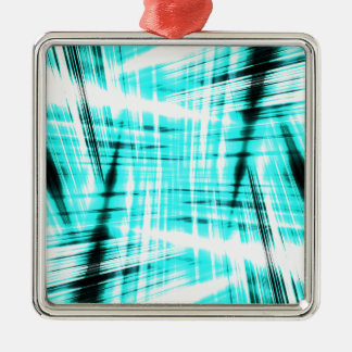 Dynamic blue streaked background Silver-Colored square ornament