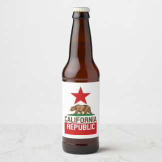 Dynamic California State Flag Graphic on a Beer Bottle Label