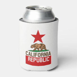 Dynamic California State Flag Graphic on a Can Cooler