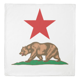 Dynamic California State Flag Graphic on a Duvet Cover