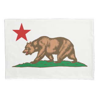 Dynamic California State Flag Graphic on a Pillowcase