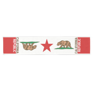 Dynamic California State Flag Graphic on a Short Table Runner