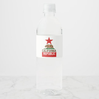 Dynamic California State Flag Graphic on a Water Bottle Label