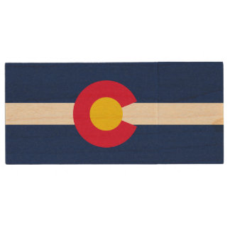Dynamic Colorado State Flag Graphic on a Wood USB Flash Drive