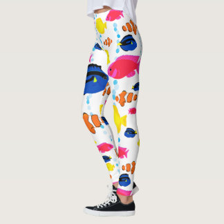 Dynamic Colorful Whimsical Tropical Fish Leggings