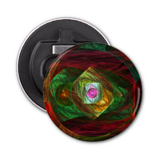 Dynamic Connections Abstract Art Button Bottle Opener