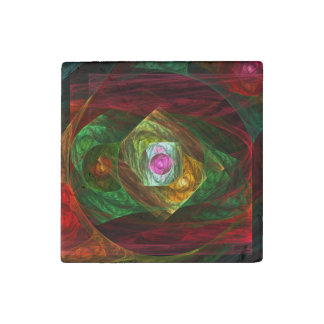 Dynamic Connections Abstract Art Stone Magnets
