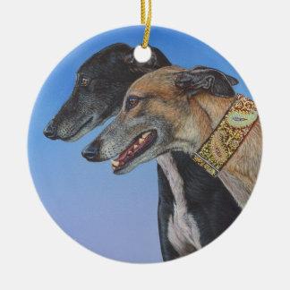 Dynamic Duo Doberman Whippet dog painting art Ceramic Ornament