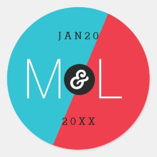 Dynamic Duo Modern Wedding Monogram Sticker Round Sticker