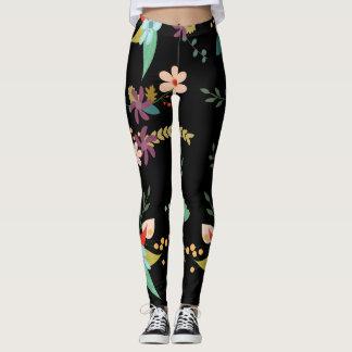 Dynamic Fashion Colorful Floral Black Leggings