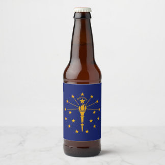 Dynamic Indiana State Flag Graphic on a Beer Bottle Label