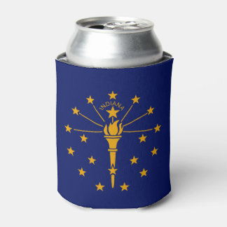 Dynamic Indiana State Flag Graphic on a Can Cooler