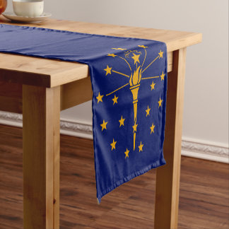 Dynamic Indiana State Flag Graphic on a Short Table Runner