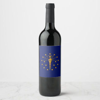 Dynamic Indiana State Flag Graphic on a Wine Label