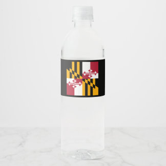 Dynamic Maryland State Flag Graphic on a Water Bottle Label