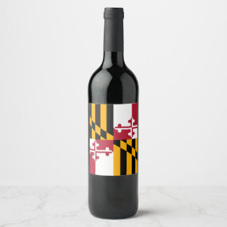 Dynamic Maryland State Flag Graphic on a Wine Label