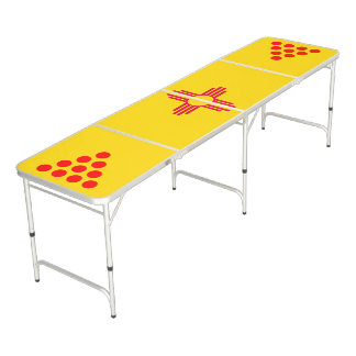 Dynamic New Mexico State Flag Graphic on a Beer Pong Table