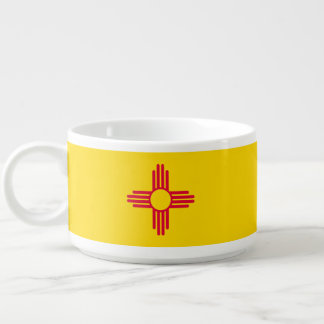 Dynamic New Mexico State Flag Graphic on a Bowl
