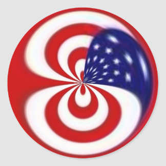 Dynamic Red White and Blue Classic Round Sticker