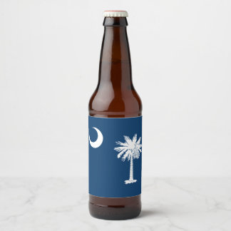 Dynamic South Carolina State Flag Graphic on a Beer Bottle Label