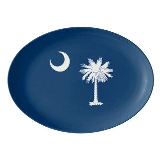 Dynamic South Carolina State Flag Graphic on a Porcelain Serving Platter