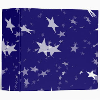 Dynamic Starfield: White Stars on Blue Background 3 Ring Binder