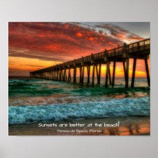 Dynamic sunset at the Pensacola Fishing Pier Poster