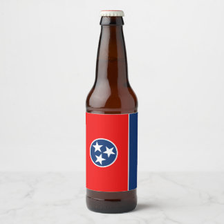 Dynamic Tennessee State Flag Graphic on a Beer Bottle Label