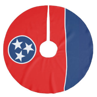 Dynamic Tennessee State Flag Graphic on a Brushed Polyester Tree Skirt
