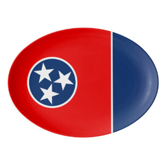 Dynamic Tennessee State Flag Graphic on a Porcelain Serving Platter