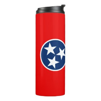 Dynamic Tennessee State Flag Graphic on a Thermal Tumbler