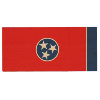 Dynamic Tennessee State Flag Graphic on a Wood USB Flash Drive