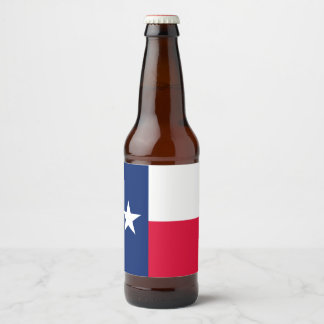 Dynamic Texas State Flag Graphic on a Beer Bottle Label
