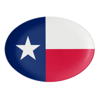 Dynamic Texas State Flag Graphic on a Porcelain Serving Platter