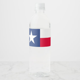 Dynamic Texas State Flag Graphic on a Water Bottle Label