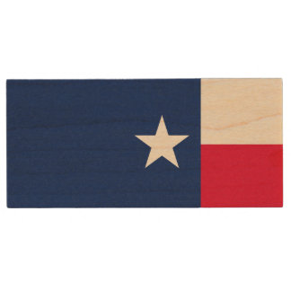 Dynamic Texas State Flag Graphic on a Wood USB Flash Drive