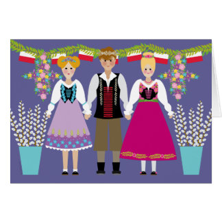 Dyngus Day Polish Folk Art Boy and Girls Card