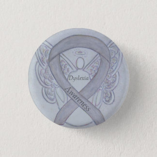 Dyslexia Silver Awareness Ribbon Angel Custom Pin