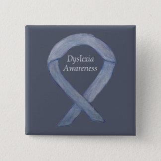 Dyslexia Silver Awareness Ribbon Custom Pin