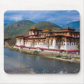 Dzong Building By River Mouse Pad