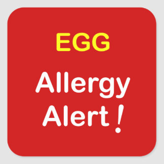 e1 - Allergy Alert - EGGS. Square Sticker
