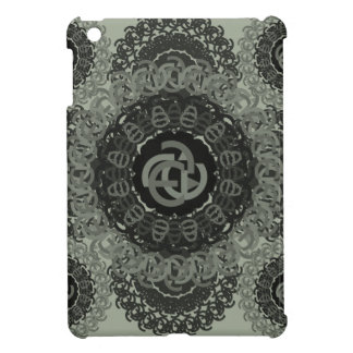 e-a-letter-circle-pattern-black-white iPad mini cover