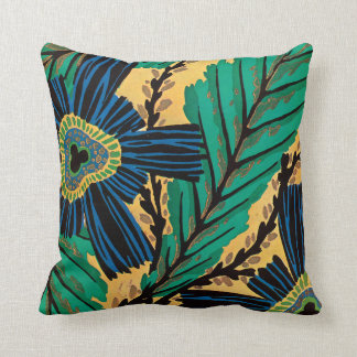E.A. Séguy Art Deco Art Nouveau Blue Flowers Throw Pillow